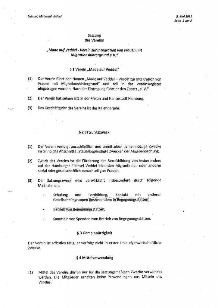 Vereinssatzung - MADE AUF VEDDEL Seite 1