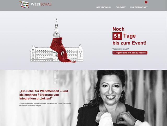 Die Website zum Made auf Veddel Weltschal-Projekt